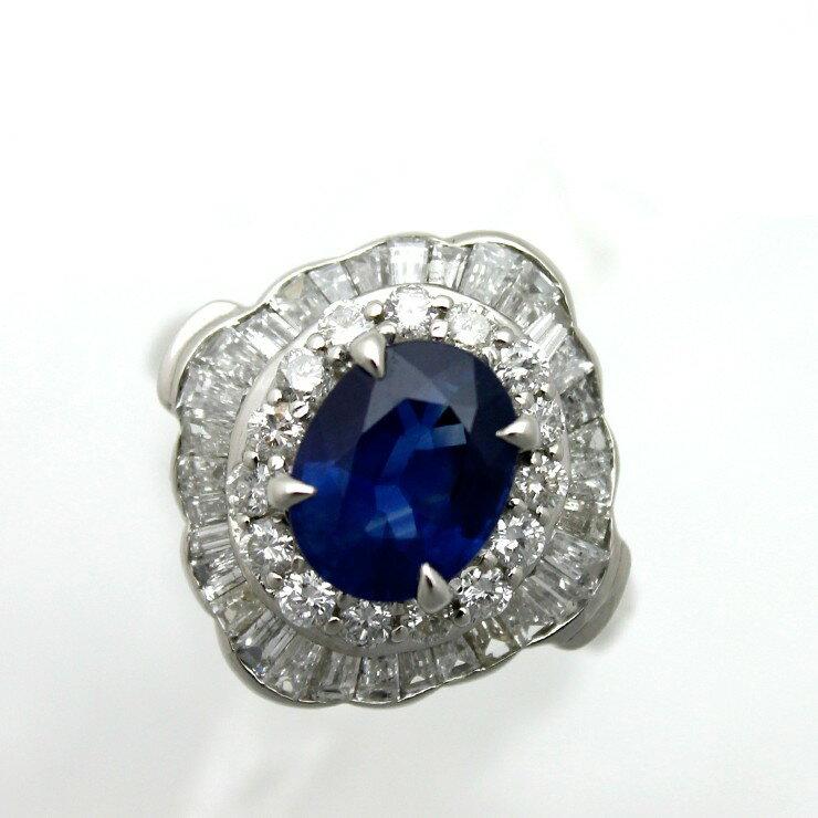 リング プラチナ900 サファイア ダイヤモンド Pt900 指輪 サイズ : 22号【中古】【送料無料】
