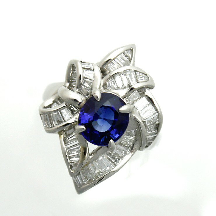 リング プラチナ900 ダイヤモンド サファイア Pt900 指輪 サイズ : 10号【中古】【送料無料】