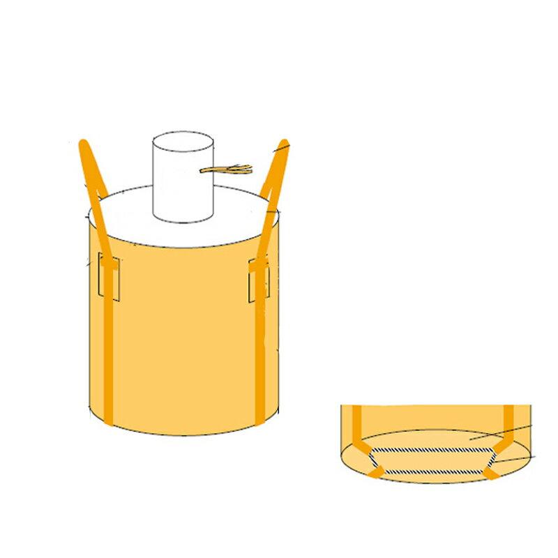 フレコンバッグ フレキシブルコンテナバッグ Cタイプ 投入口/小口 (100枚入り) 耐荷重1t 丸型 直径1100×1100mm 大型土のう袋 トンバッグ