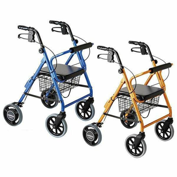 【送料無料】ハッピーII NB 抑速ブレーキ機能付 室内室外兼用歩行車 オレンジメタリック117008