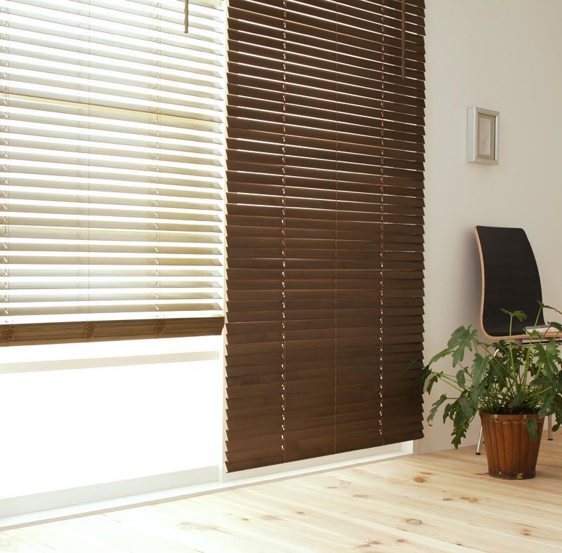 【送料無料】木製ブラインド〔MOKUBE〕もくべ ミディアムチェリー/88×183cm【代引不可】