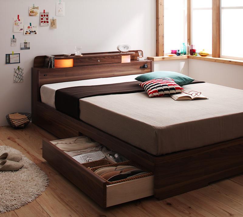 【送料無料】照明・コンセント付き収納ベッド〔Comfa〕コンファ〔国産ポケットコイルマットレス付き〕シングル ブラウン【代引不可】