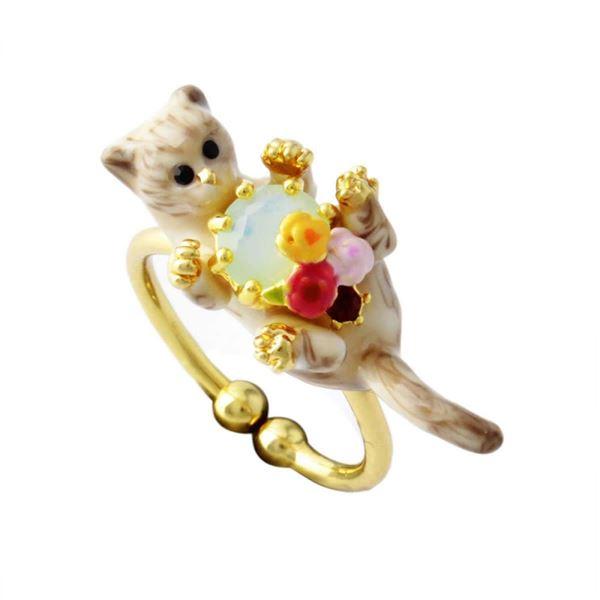 Les Nereides(レネレイド) AELA601/1 ネコモチーフ 猫 キャット リング 指輪 アジャスタブル LOVES ANIMALS【代引不可】【代引不可】