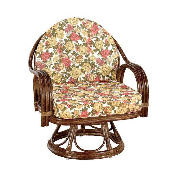 【送料無料】座椅子/天然籐360度回転チェア 高さが選べるゆったり 〔ハイタイプ〕 座面高/約42cm 木製 持ち手/肘掛け付き 【代引不可】