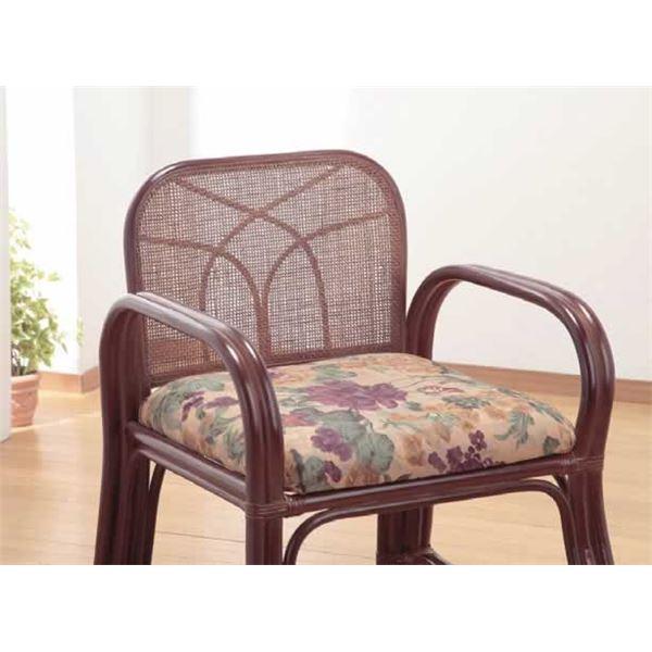 【送料無料】天然籐思いやり座椅子 〔ロータイプ〕 座面高/約24cm 肘付き 軽量タイプ【代引不可】