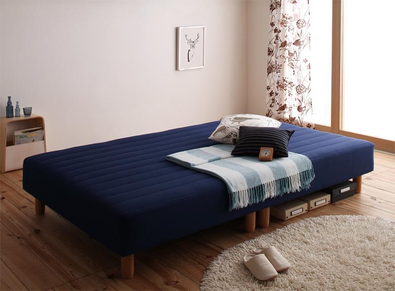 【送料無料】新・色・寝心地が選べる!20色カバーリングポケットコイルマットレスベッド 脚15cm シングル パウダーブルー【代引不可】
