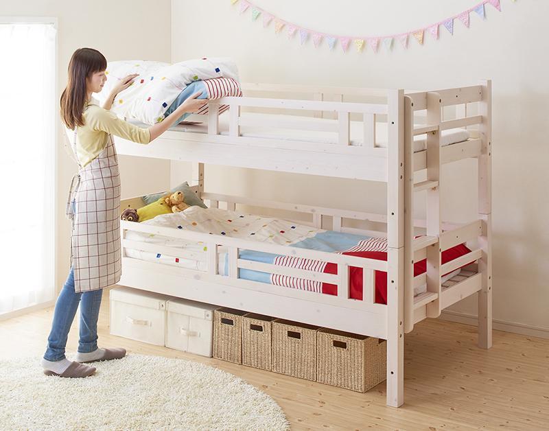 【送料無料】ダブルサイズになる・添い寝ができる二段ベッド〔kinion〕キニオン 上段ダブル・下段ダブル ホワイト【代引不可】