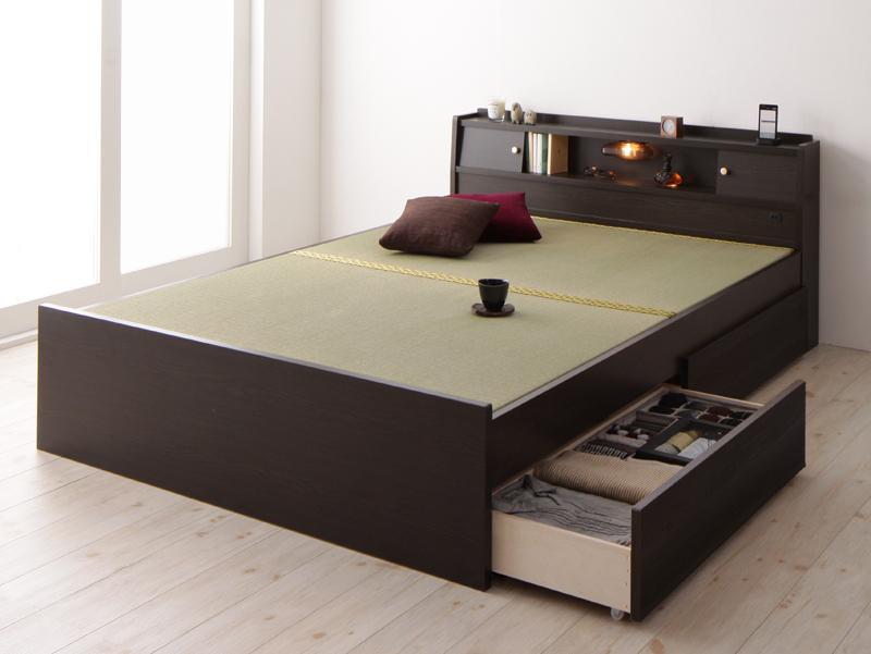 【送料無料】高さが変えられる棚・照明・コンセント付き 畳ベッド 〔泰然〕たいぜん 〔フレームのみ〕 ダブル 引出し2杯付き 〔フレーム色〕ブラウン【代引不可】