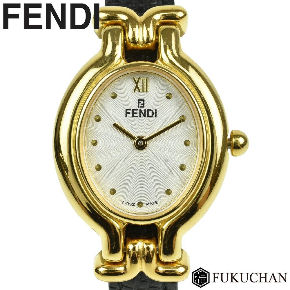 【FENDI/フェンディ】チェンジベルト ウォッチ ゴールド×シルバーギョーシェ文字盤 GP×レザー クォーツ 640L 【中古】