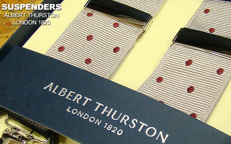 [ ALBERT THURSTON ] アルバートサーストンサスペンダー ( グレー地/エンジ水玉柄 ) AL40-06 ( アルバート・サーストン/メンズ ) 【楽ギフ_包装】【あす楽対応】