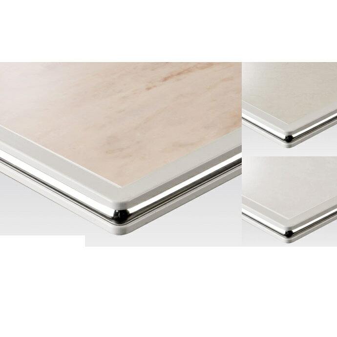 【 テーブル天板のみ 】テーブル天板 メラミン化粧板 シルバーモール付き 白 T-0026 W600×D600×t35 【 テーブル天板 パーツ 机 DIY 】
