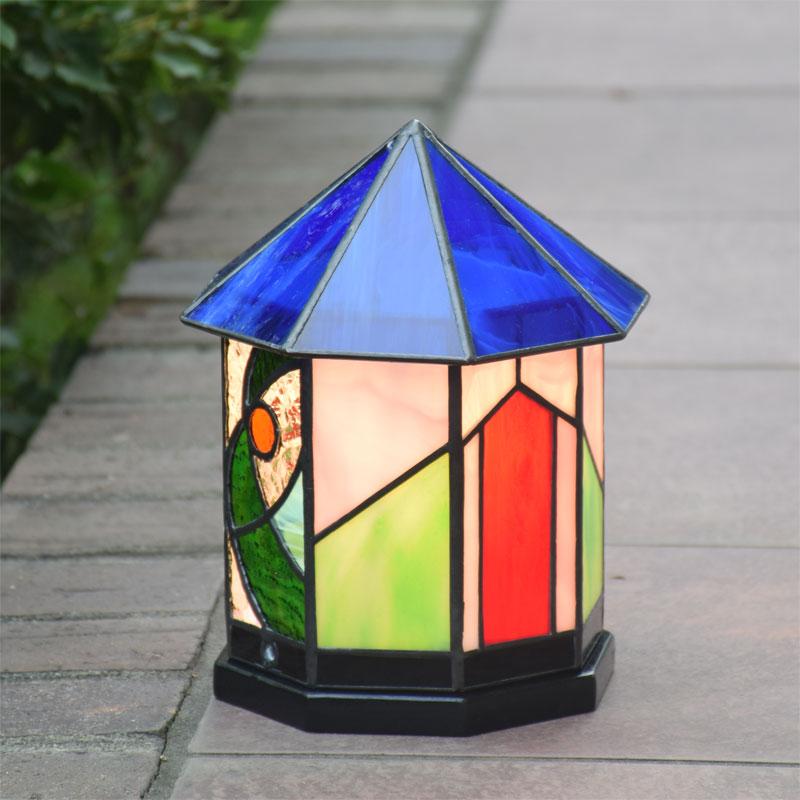 ステンドグラス ランプ ハウス 8角ステンドグラス ライト 室内照明 テーブルランプ 卓上照明 間接照明 100V LED 対応 洋風 和風照明 おしゃれ照明