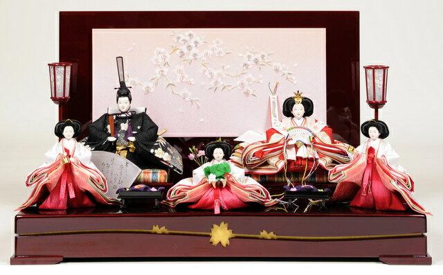 【雛人形】【平飾り】【五人飾】 三段飾京十番親王六寸官女揃:桜蘭雛:伏見屋監修【ひな人形】