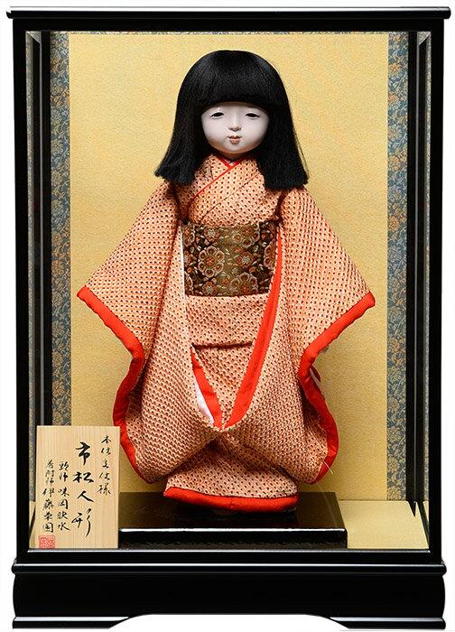 【市松人形】13号市松人形:正絹古布京刺繍本仕立仕様:伊藤草園作  ケース入り【ひな人形】【浮世人形】