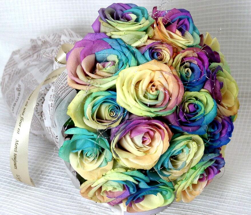 オランダ産不思議なバラの生花《レインボーローズ》18本~20本のブーケ【お買い物マラソン1217セール】