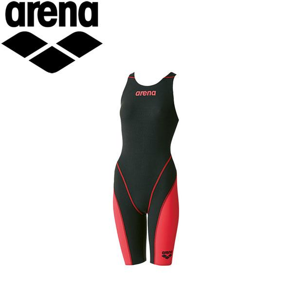 ◇アリーナ 水泳 競泳水着 レーシング レディース ハーフスパッツオープンバック ARN7010W-BKRD