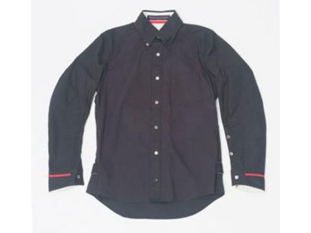 【送料無料】SHINICHIRO ARAKAWA 291-B04 コットンストレッチシャツ カラー:ホワイト×キャメル サイズ:XL