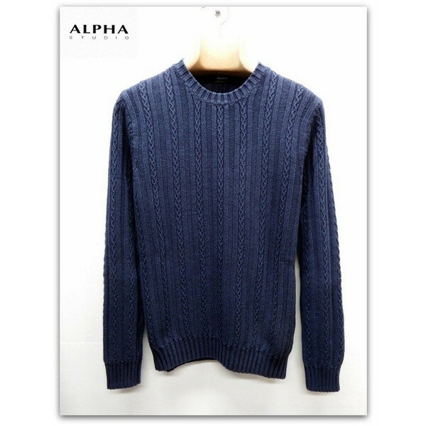 再入荷 ALPHA STUDIO ウォッシュド加工 ケーブル編み ニット セーター ネイビー(紺)
