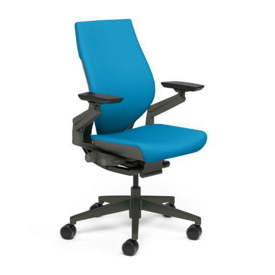Steelcase スチールケース Gesture ジェスチャー チェア ワークチェア オフィスチェア パソコンチェア PCチェア 事務椅子 事務チェア 学習椅子 フィット 長時間 作業 疲れにくい 腰 サポート ラップバック 黒 ブラック ブルージェイ 水色 K-442A40BB