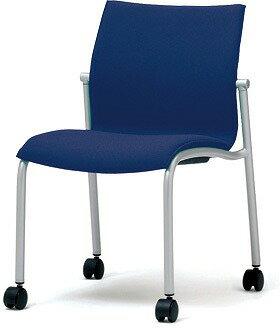 PLUS プラス ミーティングチェア チェア 会議用チェア 4本脚 スタンダード シンプル 会議室 ミーティングルーム ミーティング 会議 ルーム スペース 打ち合わせ 肘なし キャスター付き 椅子 いす イス スタッキング ダークブルー 青 MC-A20 MC-A22K