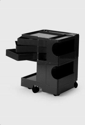 【2年保証正規品】ボビーワゴン BobyWagon ワゴン デザイナーズ キャビネット キャスター付き オフィス リビング 書斎 トレイ 収納 多機能 整理 整頓 大容量 ペン入れ ファイル すっきり プラスチック製 インテリア 2段 3トレイ ブラック 黒 B23