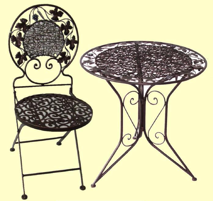 アイアン製 ガーデンテーブル+チェアセット【MO-12-25+MO-12-26】 1台+1脚