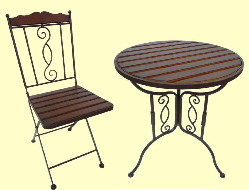 アイアン製 ガーデンテーブル+チェアセット【MO-12-23+MO-12-22】 1台+1脚
