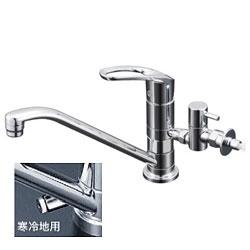 【3年保証付】*KVK*KM5011UTTU/KM5011ZUTTU 水栓金具 流し台用取付穴兼用シングルレバー式混合栓