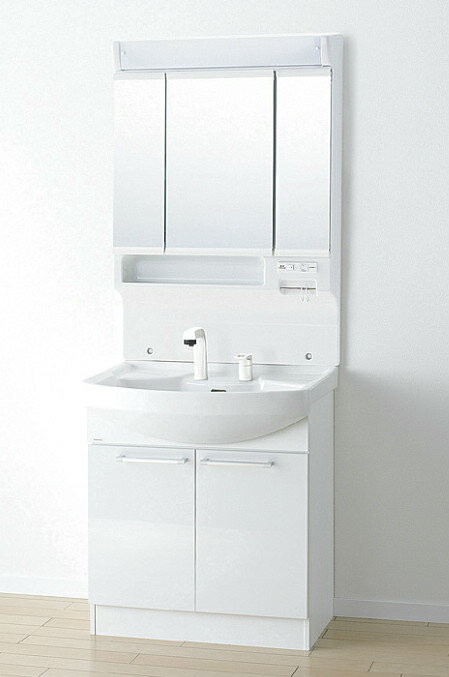 *アサヒ衛陶*LK3711KU[B/W]+M753TSLH 洗面化粧台上下セット フラット3面鏡 Kシリーズ 間口750mm