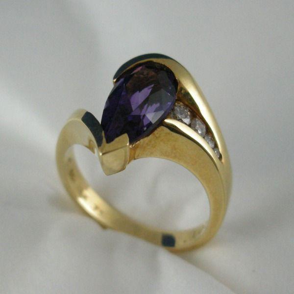 アメリカ製 K18 アメシスト・ダイヤモンド付き リング #9083 【送料無料】