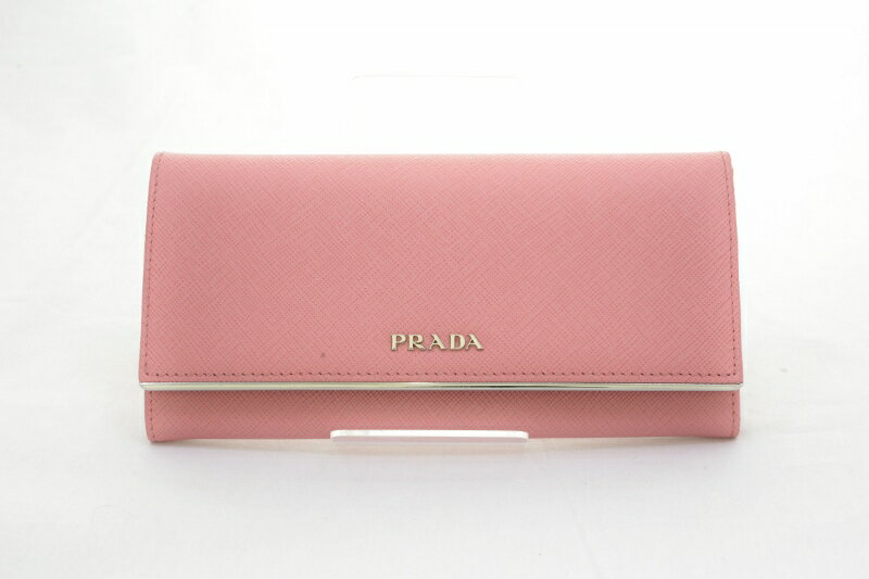 プラダ 二つ折り 長財布 サフィアーノメタル ペータロ ピンク PRADA 【オススメ】【中古】