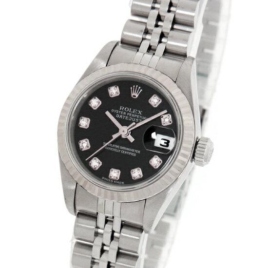 ロレックス デイトジャスト 79174G F番 10Pダイヤモンド ブラックダイアル ステンレス・ホワイトゴールド製 SS/WG 自動巻きレディース腕時計【中古】