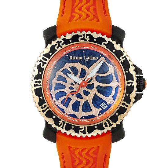 【こだわりの商品】 【新品】リトモラティーノ ビアッジョ VA-16BKM ステンレススチール×オレンジラバー 革ベルト付き 46mm アンモナイトダイアル 20気圧防水 AT 自動巻メンズ腕時計