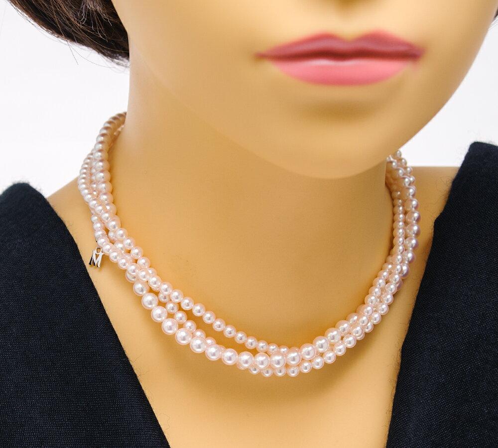 ミキモト 3連 アコヤ真珠 ダイヤモンド 18金ホワイトゴールド ネックレス【中古】(2200000218766)