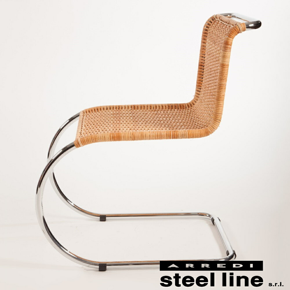 《100%MADE IN ITALY》ミース・ファン・デル・ローエ MR10 Chairラタン仕様スティールライン社DESIGN900