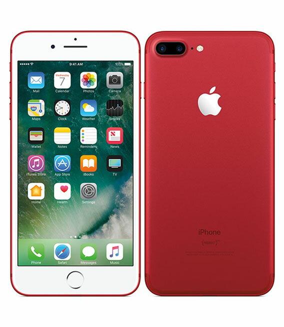 【中古】【安心保証】 SoftBank iPhone7Plus[256GB] レッド