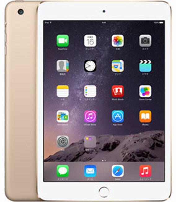 【中古】【安心保証】 au iPadmini3[WiFi+4G 16] ゴールド
