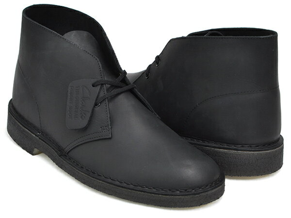 Clarks DESERT BOOT【クラークス デザートトレック】BLACK SMOOTH LEATHER WIDTH:G