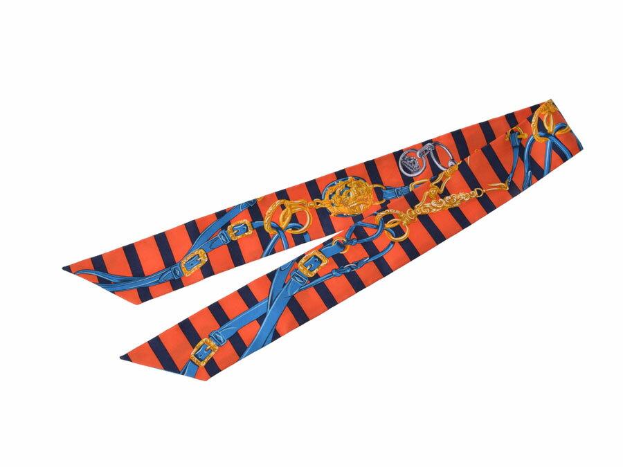 新品 エルメス ツイリー シルク100% オレンジ 青 ストライプ HERMES ギフト クリスマスプレゼント◇