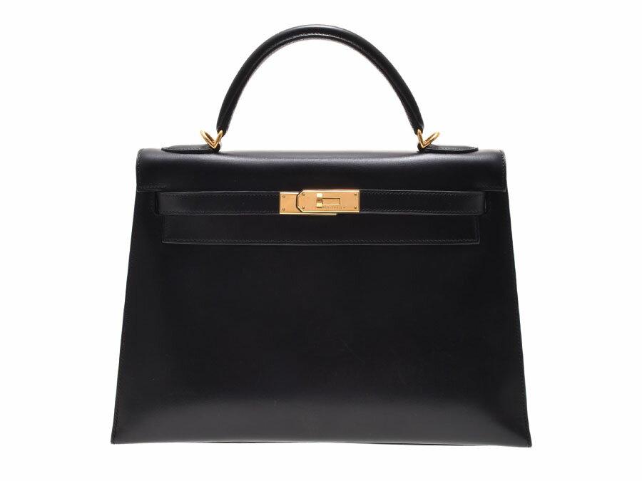 中古 エルメス ケリー32 BOXカーフ 黒 G金具 □E刻印 外縫い HERMES