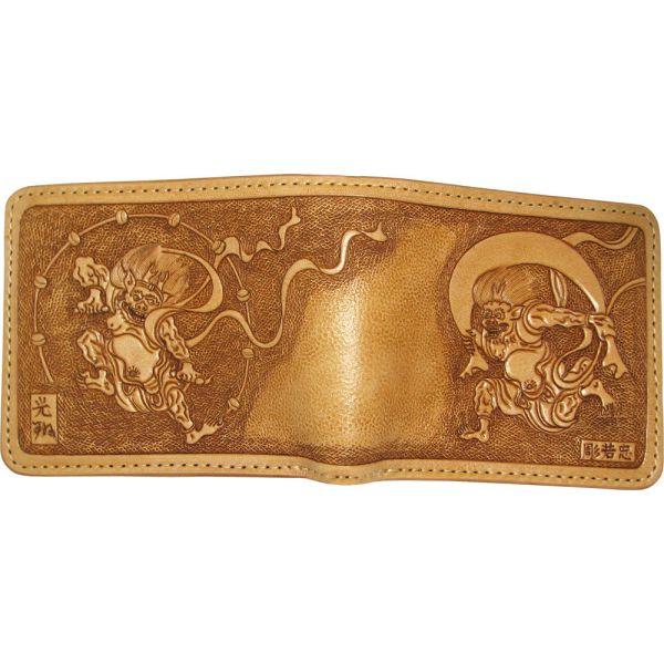 【送料無料】手彫り風神雷神二つ折り財布【RCP】【20P05Nov16】