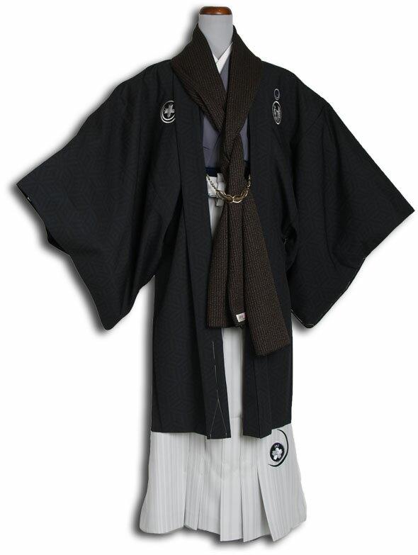 【成人式・卒業式】男性用レンタル紋付き袴フルセット-7124