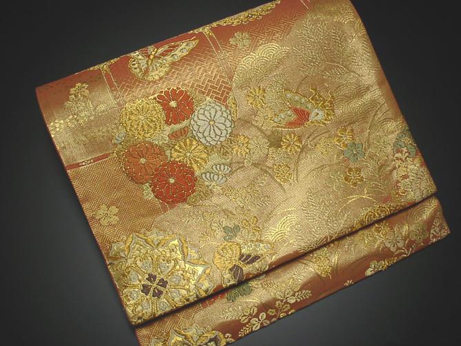 正絹袋帯 朱色地に花模様【送料無料!】【あす楽】
