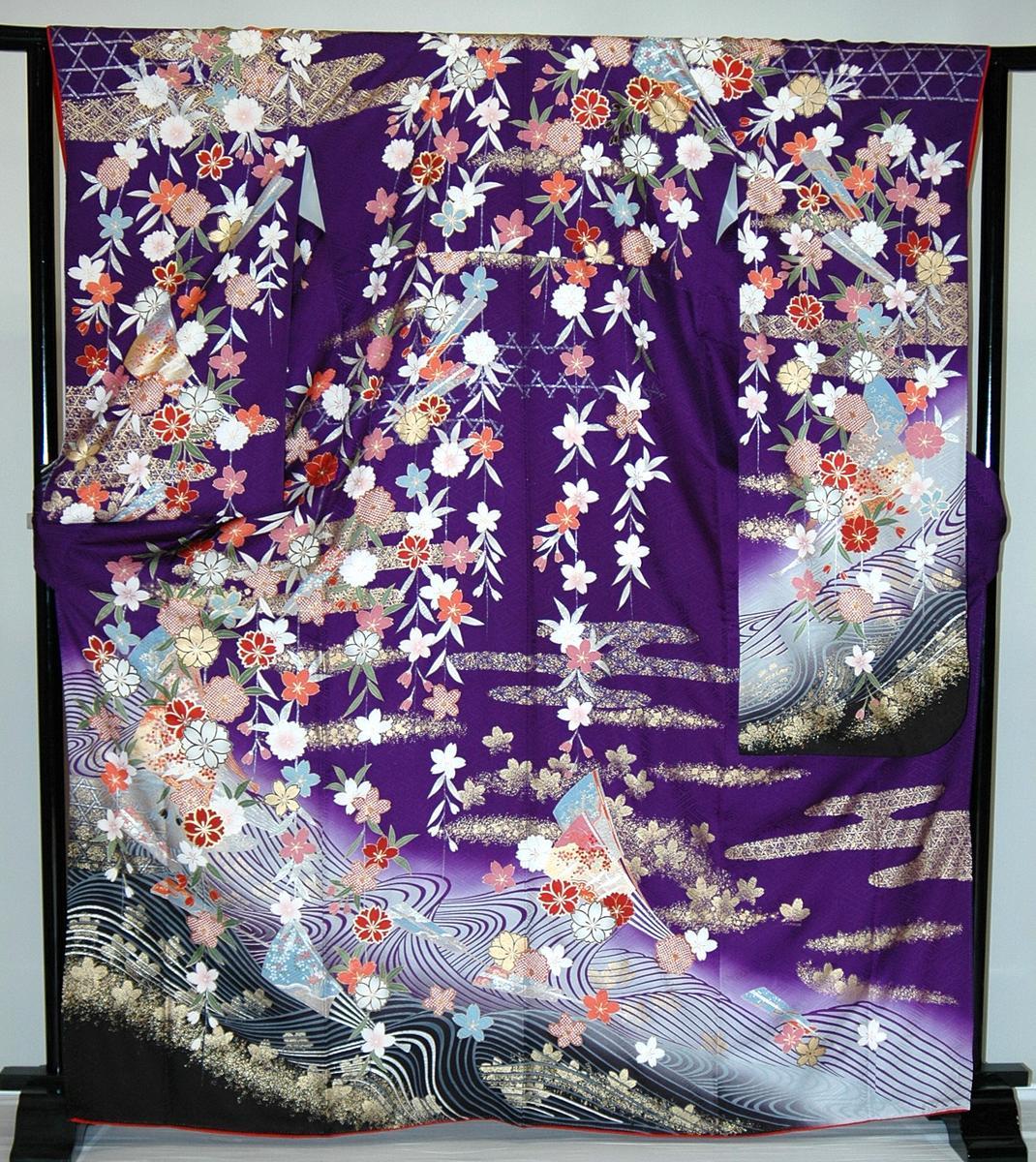 振袖・レンタル【青・青紫・緑系】【RS720】標準/L寸/7号/9号/11号/13号