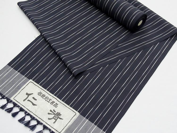伝統的工芸品「仁 清」粋な《正絹紬着尺》濃紺にグレーの縦縞(#120000-A15)