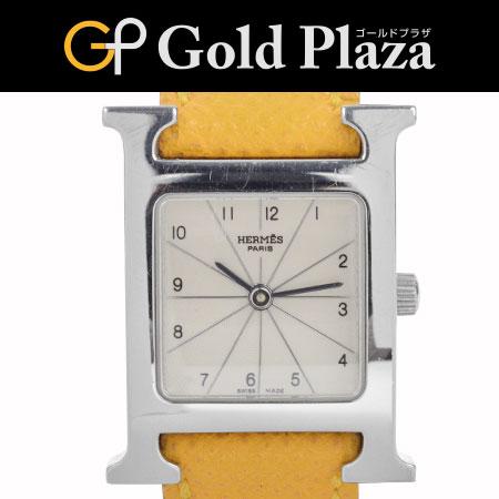 エルメス HERMES Hウォッチ HH1.210 イエロー シルバー クオーツ 腕時計 レディース 6ヶ月間動作保証付【中古】