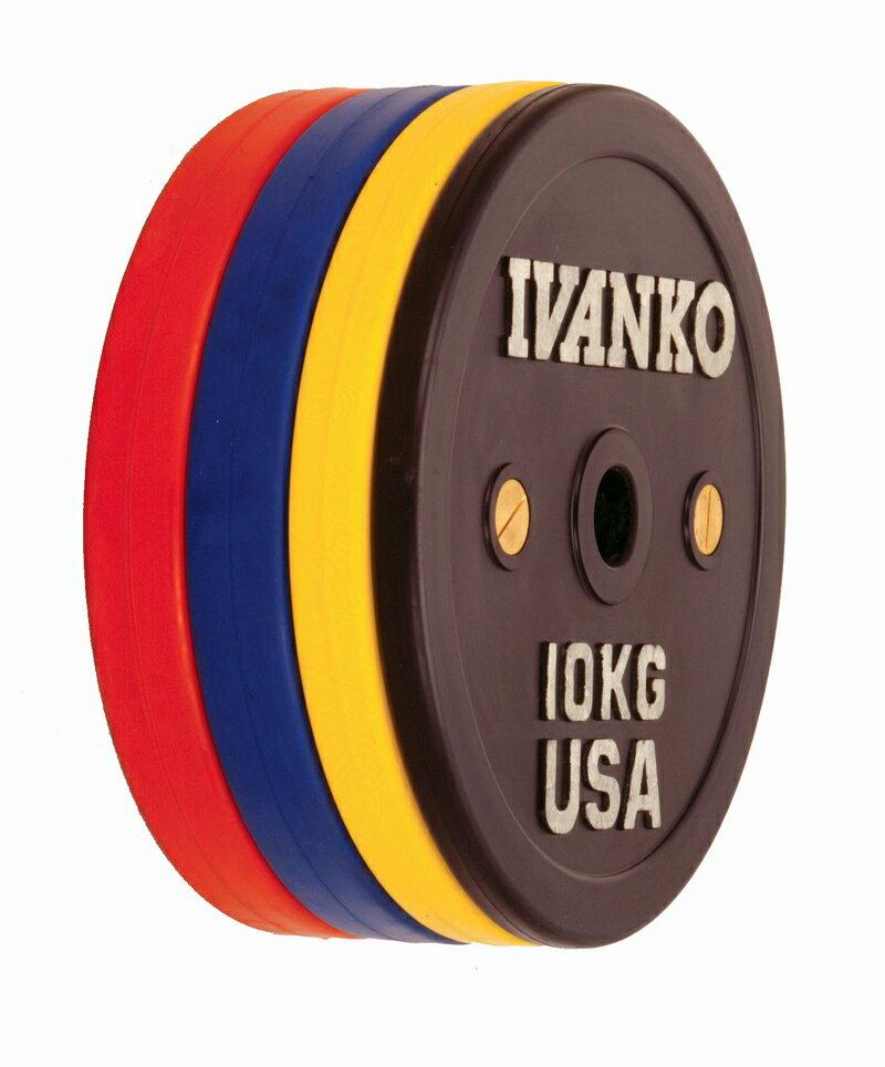 【Φ50mm高品質バーベルプレート】IVANKO(イヴァンコ社製競技用プレートラバーウェイトリフティングオリンピックプレート 10kg OCB-10