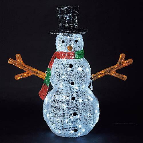 クリスマス 装飾 雪だるまスノーマン 耐水165cm340球広角型LEDホワイトグロー立体スノーマン(常点灯/パワーコード付き) 代引き不可商品です