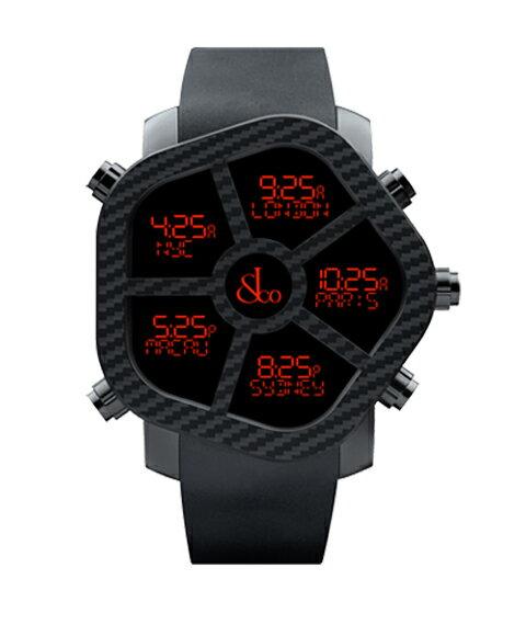 海外取寄せ(納期2~3ヶ月後) ジェイコブ ゴースト JC-GST-CBN カーボンカラー ブラック/ノーマルベゼル付属 デジタル 5time zone 腕時計 JACOB&CO