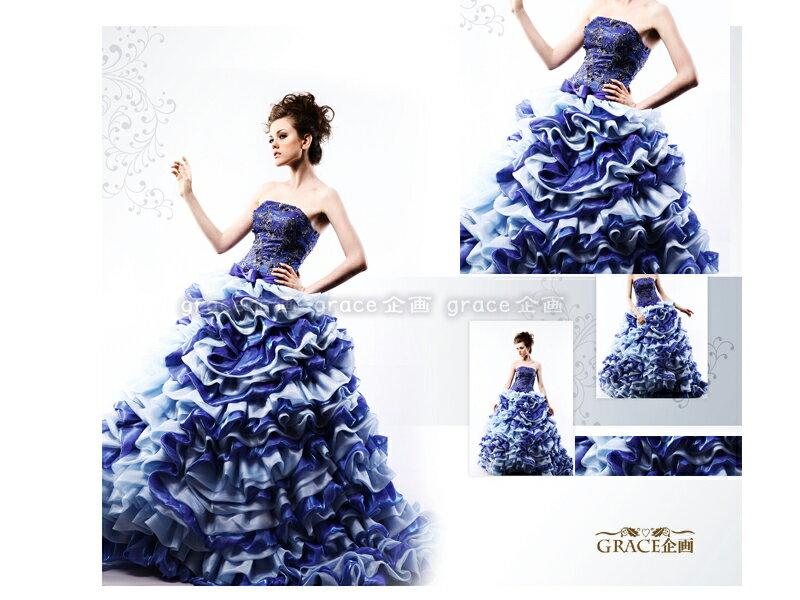 【送料無料】サイズオーダーカラードレス≪ブルー系・青・水色≫5~25号プリンセスラインロングドレスフリルいっぱいのスカートが豪華でかわいい!結婚式ウェディングドレス挙式・二次会・お色直し・演奏会・発表会・コンクール・コンサート・パーティーなどに
